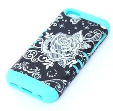 For iPhone 5C - HARD&SOFT RUBBER HYBRID ARMOR CASE COVER BLACK WHITE ROSE FLOWER