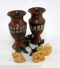 2 Keramik Vasen Set braun mit bunten Applikationen ca. 18 cm
