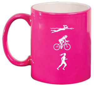 11oz Ceramic Coffee Tea Mug Glass Cup Female Triathlon Swim Bike Run