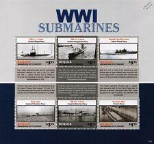 Hoja De Sellos WWI submarino buques de guerra (2015 Bequia) USS L-1/U - barcos/Nautilus/Barras