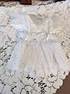 """Doll Dress, 8"""" L, W 5"""" side2side, White/Silver, Netted skirt, Adorable Dress"""