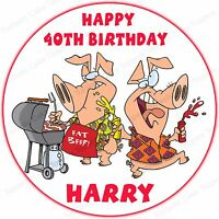Personalised BBQ Chef Pigs Barbecue Edible Icing Birthday Party Cake Topper
