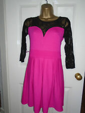 Glamorous Pink & Black Lace Skater Dress Size S/M - Worn Once!