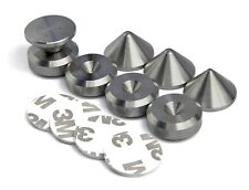 More details for precisiongeek stainless 4 x cone speaker spikes + 4 x pads + adhesive pads