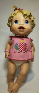 """Talking Baby Alive Doll Blond Hair Blue Eyes 14"""" 2009 Hasbro C-078A Tested Works"""