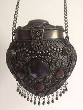 VINTAGE 1960'S TIBET HANDCRAFTED METAL & SEMI PRECIOUS STONES ORNATE EVENING BAG