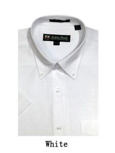 Men's Short Sleeve Button Down Dress Shirts Cotton Blend Oxford 11 Colors 02BS