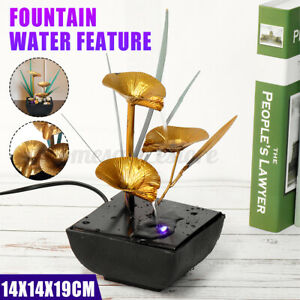 Waterfall Water Fountain Feng Shui Effect Indoor Table Desk Feature LED Lights