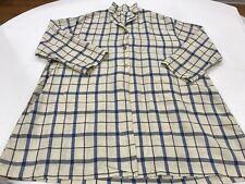 ApuntoB S/M Linen Indigo Blue Combo Check Open Shirt Collar Oversized Top