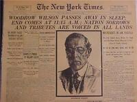 VINTAGE NEWSPAPER HEADLINE ~WORLD WAR ONE WWI PRESIDENT WOODROW WILSON DIES 1924