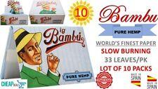 "10 Big Bambu 1 1/2""PURE HEMP World's Finest Rolling Paper 33 Leaves/Book (SPAIN)"