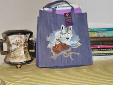 Embroidered Wild Life @ Snow Wolf & Eagle, Denim/Jeans Tote Bag Medium Size