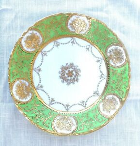 Antique Hand Painted Moorage Porcelain Plate - Nippon - Japan, Green with Gold