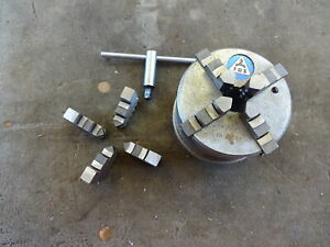 """Hobbbymat MD65 lathe Tos 3 1/4"""" independent 4 self centring jaw chuck"""