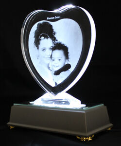 Personalised Lasered 2D Heart Photo Crystal 150x160x15mm