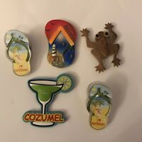 Lot Of 5 Tropical Beach Vacation Magnets - Caribbean, Cozumel, Bahamas, Belize