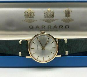 Vintage 9k 9ct Solid Gold Mens Garrard Swiss Watch + Box