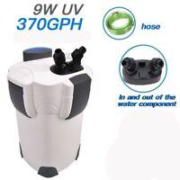 NEW 3 stage Aquarium Fish Tank Canister Filter 9W UV Sterilizer 370 GPH, 100 Gal