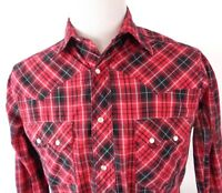 Wrangler Medium Pearl Snap Shirt Buffalo Plaid Red Black White Western L/S