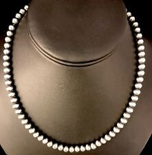"""Native American Navajo Pearls 6mm Sterling Silver Bead Necklace 19"""" Sale"""