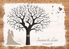 Fingerabdruck Hochzeitsbaum Leinwand Weddingtree Sepia - Holzoptik Motiv50 70x50