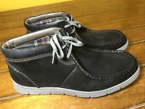 Clarks Men's Size 12 Milloy Mid Black Chukka Leather Lace-Up Boots 02496