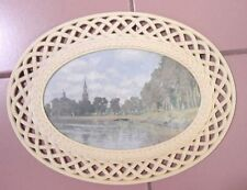 Vintage~Homco Plastic Creme Colored Lattice Framed w/Glass Print/Picture