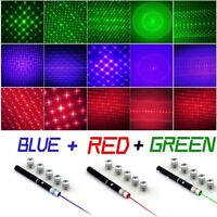 Hot 5mw 6in1 Red + Green + Blue Violet Laser Pointer Pen Beam Light + Star Caps
