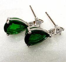 Women New 17mm Dark Green CZ Cubic White Gold  Plated Birthday Dangle Earrings