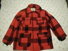 Vtg Woolrich Mens Large Hunting Jacket Red Black Plaid Wool Field Coat sz 42 USA
