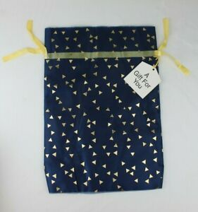 "Navy Blue & Gold Foil Organza Cloth Amazon Gift Bag/Pouch Drawstring 18"" x 13"""