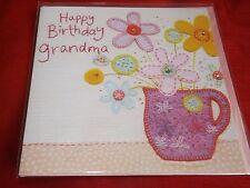 """""""buon compleanno"""" Nonna... bellissimo ricamo cucito CARD"""