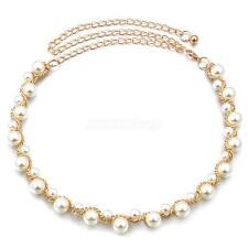 Ladies Pearl Beaded Adjustable Length Gold Tone Metal Body Chain Waist Belt