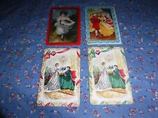 a10. 4 Vintage Swap Playing Cards  Blank Backs  Historically Dressed Girl Ladies