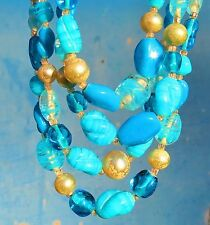 "Art Givre glass Baby blue colors Faux Pearl 4 Strand necklace Japan 16"" od   rt"