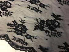 "NEW Designer Black Stretch Floral Lace Fabric 61"" 153cm Both Side Scalp Border"