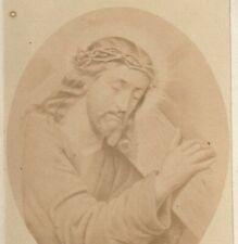 RARE CHRIST PORTANT SA CROIX  CDV RELIGION 10,5 x 6,5 cm