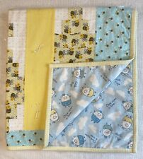 Handmade Baby Quilt Blue Yellow White Friendly Bees Little Pigs 40�x 37� Unisex