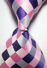 New Classic Checks Pink Blue JACQUARD WOVEN 100% Silk Men's Tie Necktie