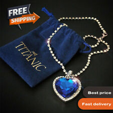 Titanic Heart of the Ocean Blue with Silver Necklace Heart Love Crystal Pendant