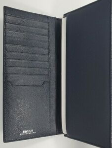 BALLY Blue Navy Bovine Embossed Leather Mialiro Long  Wallet NWT 487