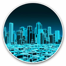 2 x Vinyl Stickers 10cm - 3D Holographic City Urban Cool Gift #2399