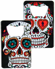 """Steel 3.75"""" Day of the Dead Sugar Skull Graphic Credit Card Bottle Opener"""
