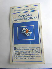 Vintage Nova Scotia Canada's Ocean Playground Plastic Flag Pin Pinback on Card