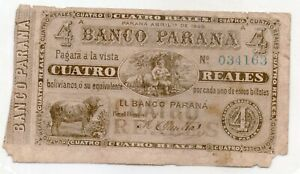 ARGENTINA ENTRE RIOS NOTE BANCO PARANA 1868 4 REALES BOLIVIANOS P#S1814