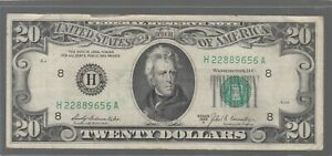 1969 A (H) $20 Twenty Dollar Bill Federal Reserve Note St Louis Vintage Currency