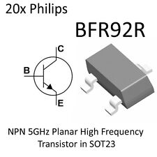 20x NPN 5GHz Planar High Frequency Transistor BFR92R BFR92 SOT23 On Tape Philips