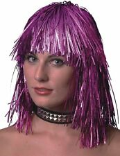 Metallic Tinsel Wig 70's Disco Hen Night Womens Fancy Dress