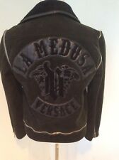 Rare Vintage Gianni Versace Mens Small Leather Suede Zipper Motorcycle Jacket