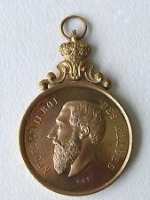 Médaille en bronze doré Léopold II roi des belges . Bruxelles , 1909 .